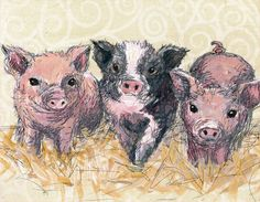 """""""Three Piglets"""" Animal Canvas Decor For Kids by Jennifer Stables 14x10 $59, 18x14 $89   Shop more, SAVE more through July 7th at Oopsy Daisy, Fine Art For Kids. Save 20%, 15%, or 10% today with our triple 4th of July Sale!"""