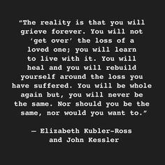 Elizabeth Kubler-Ross quote. In memory of my son Randy 2007 at age 51 and my daughter Cynthia 2013 at age 55 and now my third child Scott at age 53 on January 10th 2015. I love them all and will miss them until I die.
