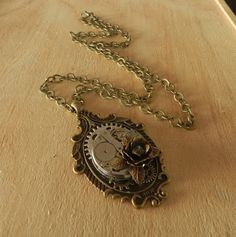 Image of Exquisite Vintage Steampunk Clockwork Rose Necklace Rose Necklace, Pocket Watch, Steampunk, Necklaces, Watches, Accessories, Image, Pink Necklace, Wristwatches