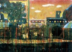 Peter Doig - Night Playground, oil on canvas, 78¾ x 108in. (200 x 274.3cm). Painted in 1997-98.