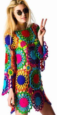 Pull Crochet, Hippie Crochet, Knit Crochet, Hippie Dresses, Boho Dress, Beachwear For Women, Crochet Fashion, Vintage Crochet, Crochet Crafts