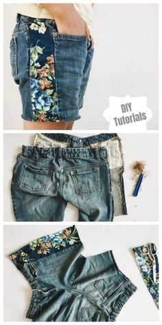Refashion Hack - Turn worn jeans into DIY instructions for cropped jeans shorts - Boho… - Diyprojectgardens.club - Refashion Hack – Turn worn jeans into DIY instructions for cropped jeans shorts – Boho … - Diy Jeans, Diy Shorts, Jeans Refashion, Jeans To Shorts, Diy Lace Jean Shorts, Cropped Jeans, Refashion Dress, Sweatshirt Refashion, Patterned Shorts