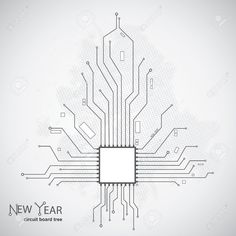 Circuit board pattern in the shape of the Christmas tree Royalty Free Stock Vector Art Illustration Circuit Board Tattoo, Cyborg Tattoo, Simple Circuit, Willow Tree Figurines, Family Tree Frame, Pine Tree Tattoo, Web Design, Tattoo Outline, Celtic Tree