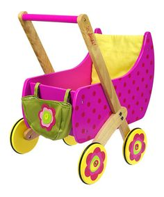 Look what I found on #zulily! Pink Wood Doll Carriage #zulilyfinds