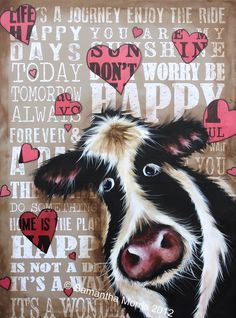 """Happy Cow""  limited edition prints available at www.samantha-morris.com"