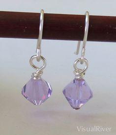 Lavender Swarovski Crystal Dangle Earrings by visualriver on Etsy, $15.00