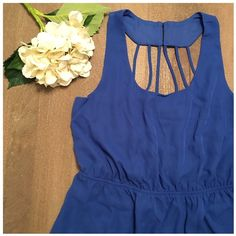 Chiffon sundress- fully lined NWT Royal blue, fully lined halter chiffon sundress. Shell and lining both 100% polyester No Boundaries Dresses
