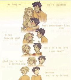Percy Jackson 12-17 bottom to top. Annabeth and him are too cute from I guess we're friends to denying they like each other to  in love