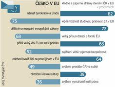 Se členstvím ČR v EU je spokojeno 41% lidí. 2/3 Čechů se přesto cítí být Evropany.