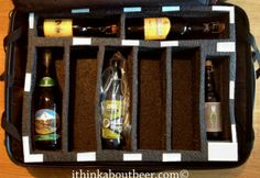 How to make a beer travel kit to safely bring home bottles of beer or wine. // Great idea for traveling beer + wine lovers!
