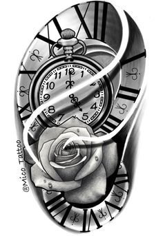 Tattoo Stencil Designs, Tattoo Lettering Design, Clock Tattoo Design, Tattoo Design Drawings, Tattoo Stencils, Tattoo Sketches, Chicano Tattoos Sleeve, Forearm Sleeve Tattoos, Full Arm Tattoos