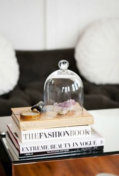 coffee table stack of books with bell jar. / sfgirlbybay