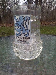 Lowenbrau Munchen Beer Germany Glass Mug Stein Dimpled & Pineapple Shaped Base
