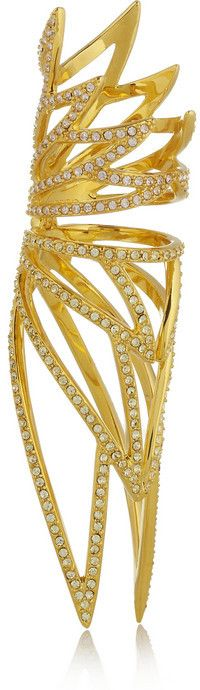 Eddie Borgo Winged Hinge gold-plated cubic zirconia ring on shopstyle.com