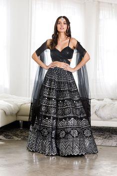 Rekha Lengha - Ready to Ship Indian Wedding Wear, Indian Bridal Outfits, Indian Designer Outfits, Designer Gowns, Pakistani Lehenga, Black Lehenga, Bridal Lehenga Choli, Saree, Patiala Dress