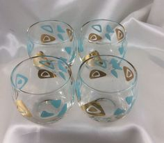 4 Vinge Aqua Blue Gold Atomic 1960's  Roly Poly Cocktail Glasses Lowball Retro