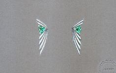 Hannah Martin. Trilliant Tourmaline Bespoke Earrings with Diamonds