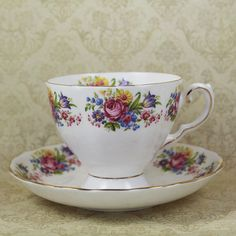 Vintage Tuscan Bright Floral English Bone China Tea by scdvintage, $20.00