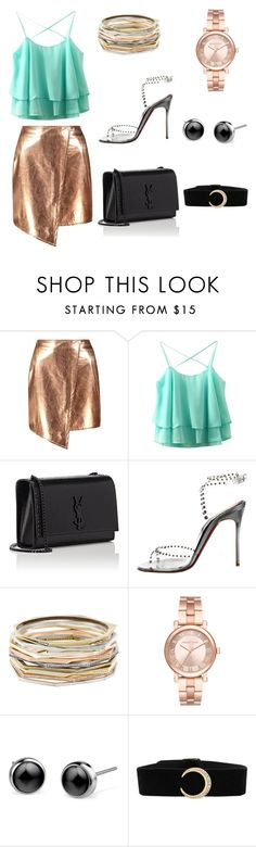 """""""Untitled #2"""" by geraldinexo ❤ liked on Polyvore featuring Boohoo, Yves Saint Laurent, Christian Louboutin, Kendra Scott, Michael Kors, gold, black, YSL and rosegold"""
