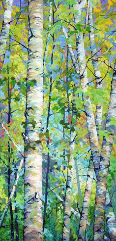 Spring Birches l - x Frank Balaam - sometimes we need to recognize the beauty in simple things! Watercolor Trees, Watercolor Paintings, Encaustic Painting, Abstract Tree Painting, Watercolour, Landscape Art, Landscape Paintings, Birch Tree Art, Aspen Trees