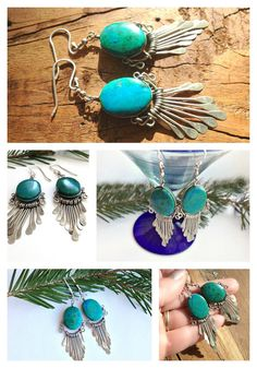 Santa Fe style Sterling Silver and Turquoise by elementsinspired