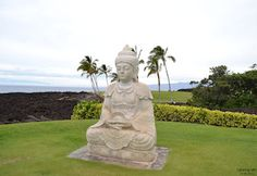 Buddha statue in Waikoloa Hawaii...have enjoyed many sunsets here...oh, & there's mini golf surrounding the buddha too!!