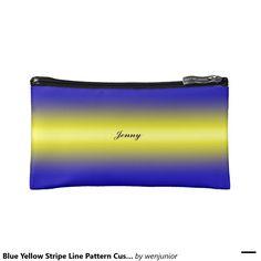 Blue Yellow Stripe Line Pattern Custom Name Cosmetic Bags
