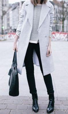 winter uniform - grey coat, black skinnies, black boots, sweater, black bag