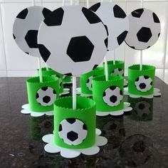 Soccer Birthday Parties, Soccer Party, 10th Birthday, Football Themes, Black And White Theme, Party Hacks, Craft Day, Ideas Para Fiestas, Party Themes