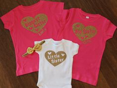 shirt big sister Sisters cute boho style T Middle// little siblings