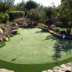 Have the perfect space for backyard putting greens? EasyTurf offers the longest life expectancy for endless practice that will shave strokes off your short-game. l golf l putting green l sports l artificial turf l landscape l design l gift l