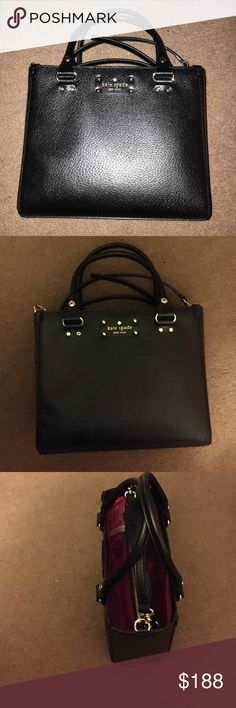 Black Kate Spade cross body bag Authentic Kate Spade structured leather cross body bag, pink interior, zipper enclosure in center, fits 8-9 inch tablet and/or planner kate spade Bags Crossbody Bags