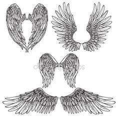 Wings Sketch Set — Stok Vektör © macrovector #77157569
