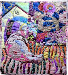 Cat Nap: Carl on a Couch, Art Textile