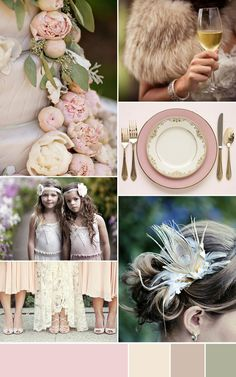 very feminine, pink affair, but not in the sickly sweet sense. We have chosen dusty pink as a base colour and mixed it with shades of peach, taupe and sage. You might think this inspiration is more suited to a summer wedding (for which it would be fabulous!) but we think it would be just as equally beautiful for a winter one, think warm furs mixed with a touch of sparkle and voila!