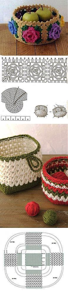 DIY Handmade: Crochet Baskets - 37 Patterns and Schemes Crochet Mandala Pattern, Crochet Motifs, Crochet Squares, Crochet Chart, Crochet Doilies, Crochet Flowers, Crochet Patterns, Crochet Bowl, Love Crochet