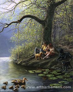 Places Remembered ~ Spring by James Meger ~ boy girl fishing ~ dogs ~ ducks Indian Art Paintings, Great Paintings, Beautiful Paintings, Landscape Paintings, Original Paintings, Art Village, Image Nature, Fishing Pictures, Country Art