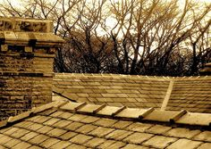 Slate roof, sandstone chimney, heritage listed restoration. Reclaimed slate, random diminishing laid. Work by Integral Slate Roofing - Integral Slate Roofing, Roofing, Leichhardt, NSW, 2040 - TrueLocal