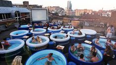 As the temperatures drop, the fun will begin to heat up with Sydney's first Hot Tub Cinema. Picture: Facebook