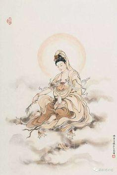Buddha Buddha Painting, Buddha Art, Mahayana Buddhism, Chinese Buddhism, Buddha Tattoos, China Art, Guanyin, Dragon Art, Religious Art