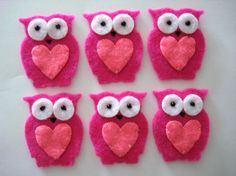 Owls... cute for cupcake toppers  Repinned this and I would love them as felt embellies