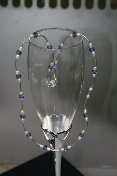 Tanzanite Swarovski Crystal  Rice Pearl and by TrinketsbyTeri, $15.00