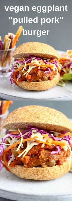 "This Vegan Eggplant ""Pulled Pork"" Burger is easy to make, just as tasty as the real thing, and packed full of plant-based goodness. Made with shredded eggplant (aubergine) and green lentils, with an amazing homemade refined sugar free BBQ sauce. #vegan #dairyfree #glutenfree #plantbased #vegetarian #burger #summer #eggplant #bbq"