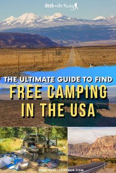 Planning a USA road trip and looking to camp along the way? The cost to go camping can add up quickly if you're looking at $20-30 per night... But thankfully there are tons of places to find free camping in the USA... Here's the ultimate guide to free camping places learned from a number of years of road tripping...  #roadtrip #camping  #usa #travel  Click to read: The Ultimate Guide to Finding Free Camping in the USA! Published by Desk to Dirtbag - Travel More. Get Dirty. Find Your… Camping Places, Camping Spots, Go Camping, Camping Ideas, Truck Camping, Usa Travel Guide, Travel Usa, Travel Guides, Budget Travel