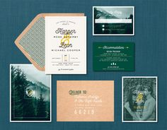 Modern Mountain Forest Wedding Suite // DIY by blacklabstudio