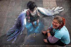 Stunning! 3D Street Art'My blue angel' by Jenny McCracken