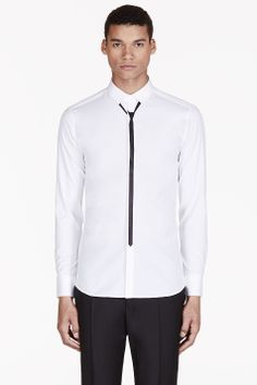 NEIL BARRETT White SKINNY TIE print shirt - $485