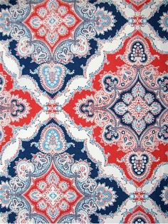 "ODL Zoie Bluemarine - Outdoor fabric from designer P. Kaufmann. 100% poly. Multi color bandana print. Repeat; V 13.5"" , H 13.5"" . Perfect for outdoor seat cushions, upholstery or pillow covers. 54"" wide. Made in U.S.A."