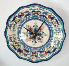 Ceramic Plate Clock Wall Clock 11 Inch Wall Clock  by makingtimetc, $37.00