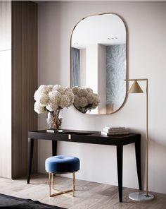 Sweet and simple console styling 💙 Decoration Design, Decor Interior Design, Furniture Design, Interior Decorating, Luxury Furniture, Modern Furniture, Hall Interior, Decorating Games, Plywood Furniture